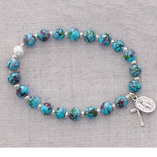 Rosary Bracelet Aqua Venetian Stretch