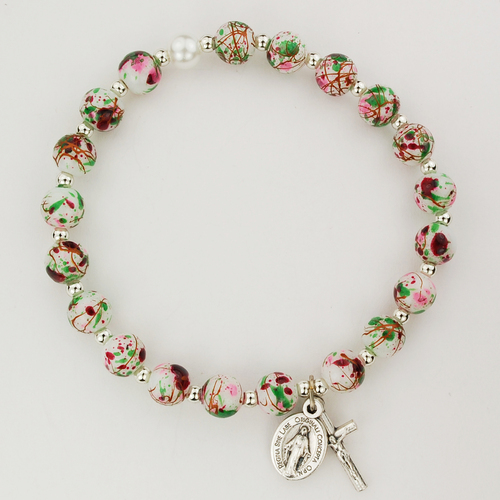 Rosary Bracelet White Venetian Stretch