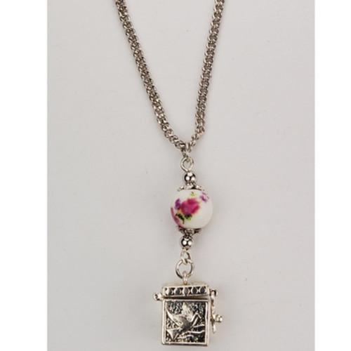 "Prayer Box Pendant With Ceramic Bead 18"""