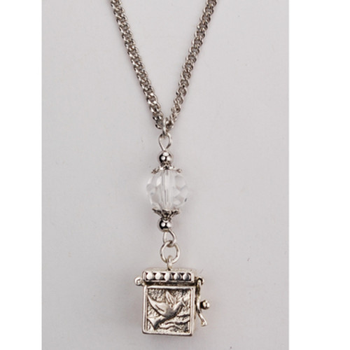 Prayer Box Pendant with Crystal Bead 18""
