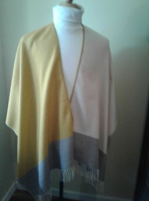 Gold Block Shawl.  Gold color is darker than shown in photo