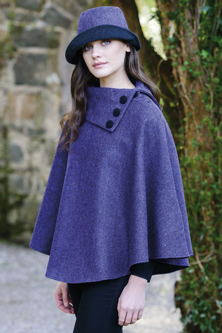 Mucross Wool Mini Purple Poncho
