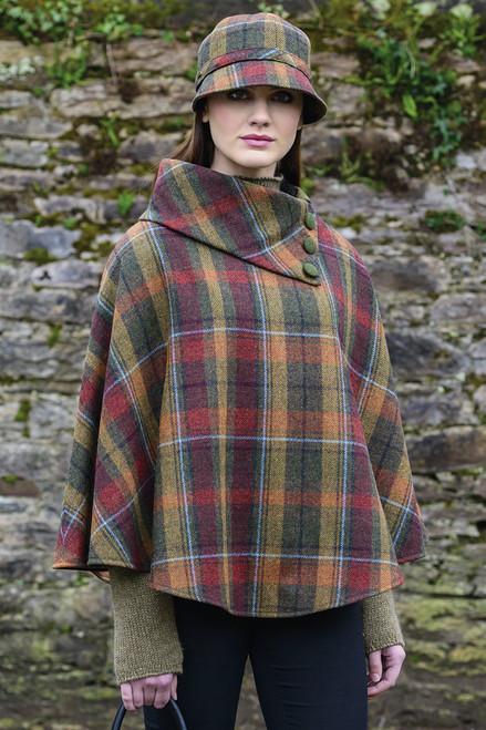 Mucross Wool Mini Green/Red/Gold Plaid Poncho