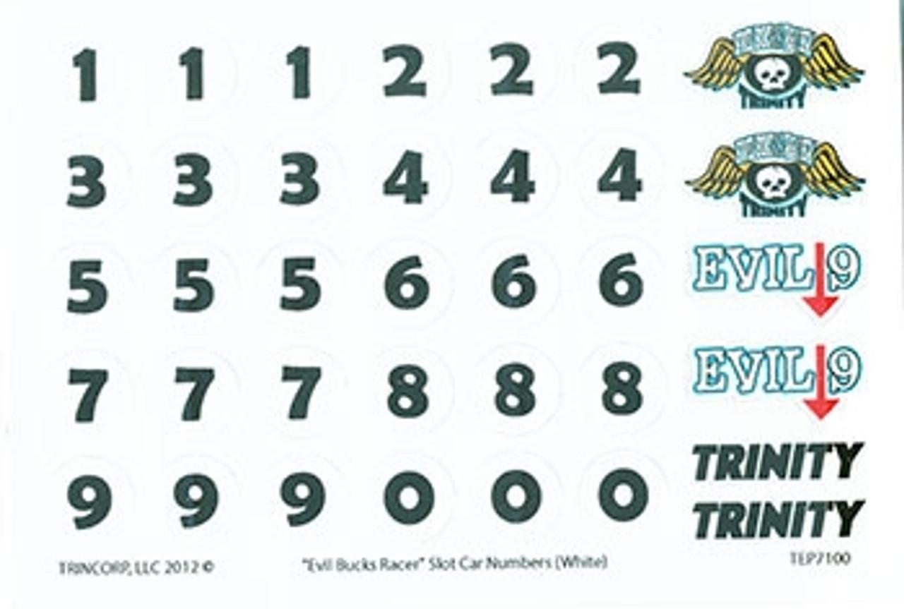 Trinity Evil Bucks Numbers - Black on White - TRI-7100