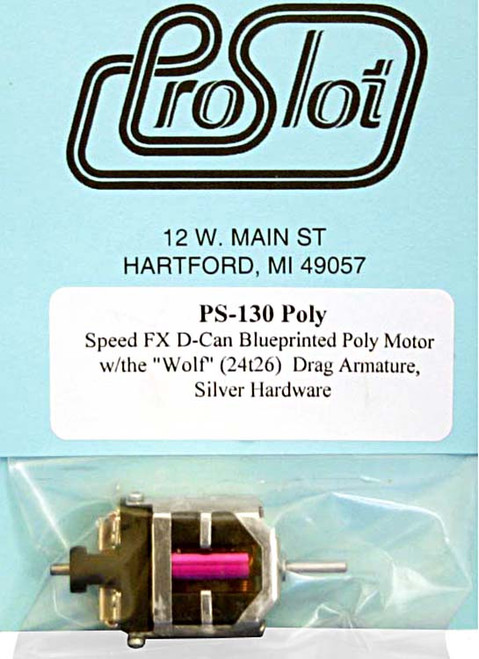 """Proslot D-Can Drag Motor w/ Poly-Neo Magnets & """"Wolf"""" Arm- PS-130Poly"""