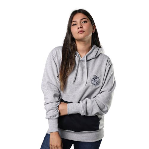 Club Puebla Hoodie gris con bolsa azul marino - unisex