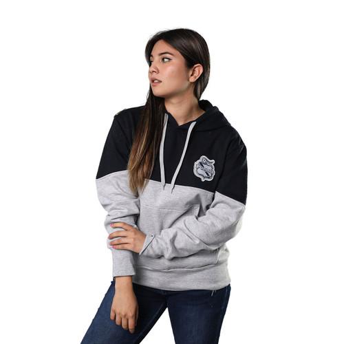 Club Puebla Hoodie gris con pecho azul marino - unisex