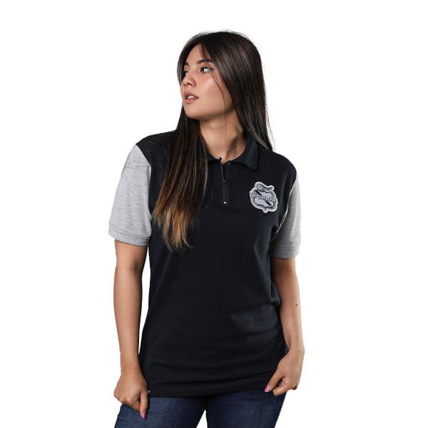 Club Puebla Playera polo con cierre azul marino mangas grises - unisex