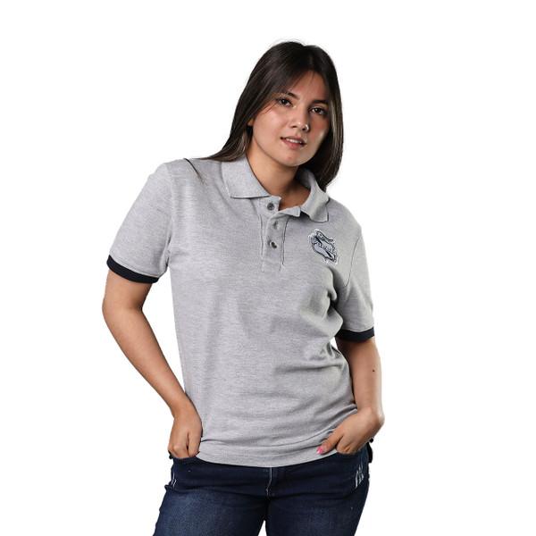 Club Puebla Playera polo gris con botones y detalle azul marino en mangas - unisex