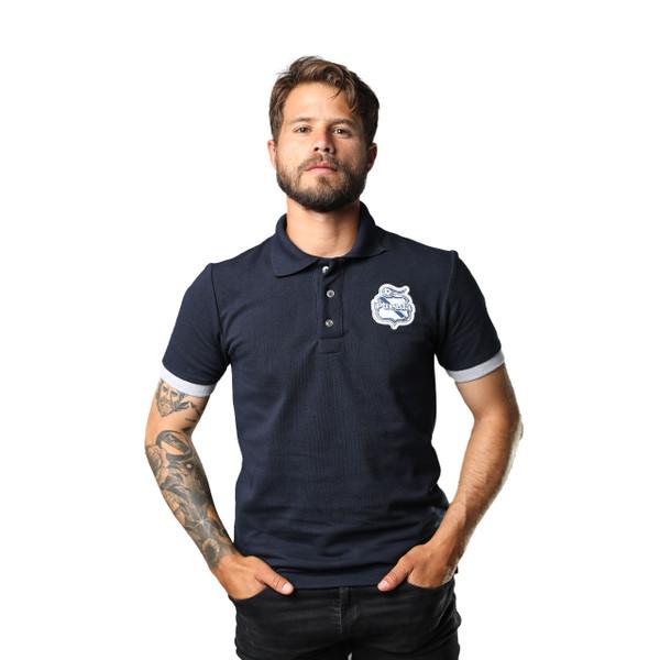 Club Puebla Playera polo azul marino con botones y detalle gris en mangas - unisex