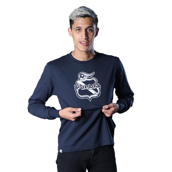 Club Puebla Playera azul marino manga larga escudo - unisex