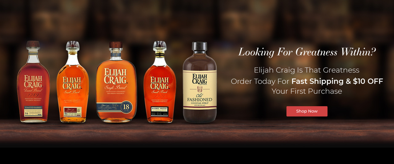 Banner showing five bottles from Elijah Craig on a black background.