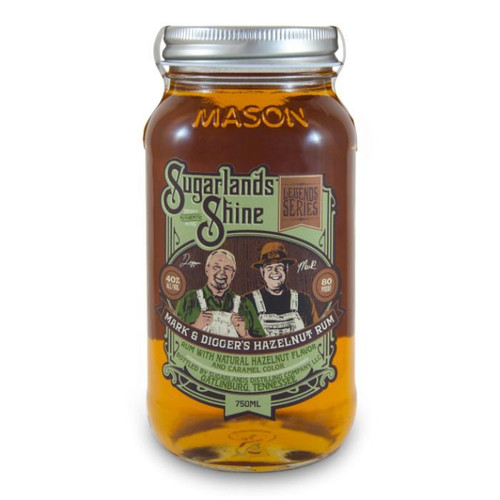Sugarlands Shine Mark and Digger's Hazelnut Rum meets the nose with sweet aromas of toasted hazelnut and brown sugar. It is a smooth, full-bodied spirit that blends the tastes of vanilla, cinnamon, and honey and finishes with a sweet, oaky kick sure to satisfy the rum-lover in everyone.