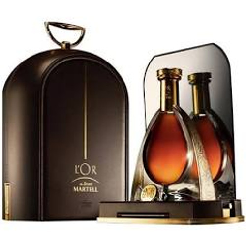 bottle of martell in a suitecase.