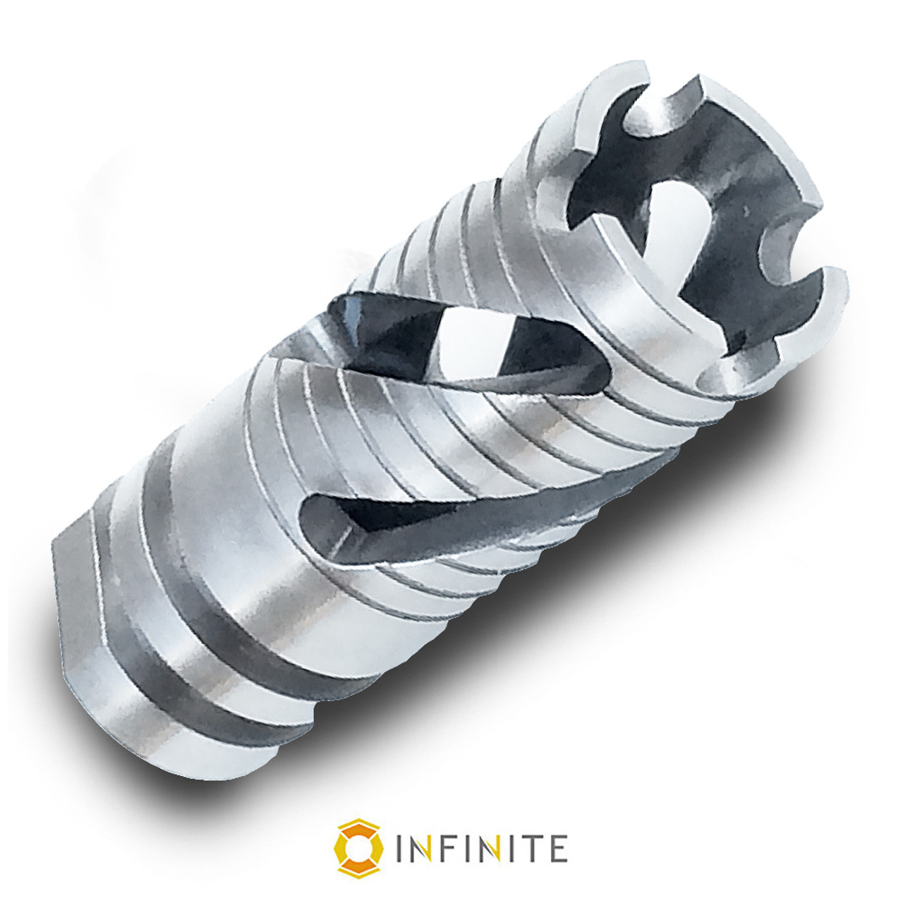 14mm x 1 RH Spiral Phantom Muzzle Device - Stainless Steel