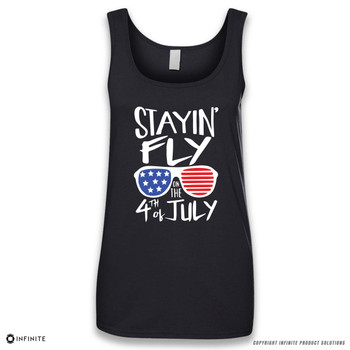 'Stayin' Fly on the 4th of July' Sleeveless Ladies Tank Top