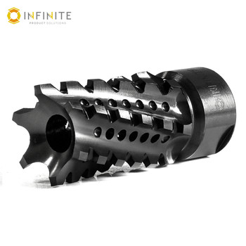 """5/8-24 RH 'Twisted Tempest' Compensator - 2-1/4"""" - Black Stainless"""