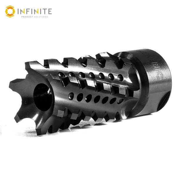 """5/8-24 RH 'Twisted Tempest' Muzzle Device - 2"""" - Black Stainless"""