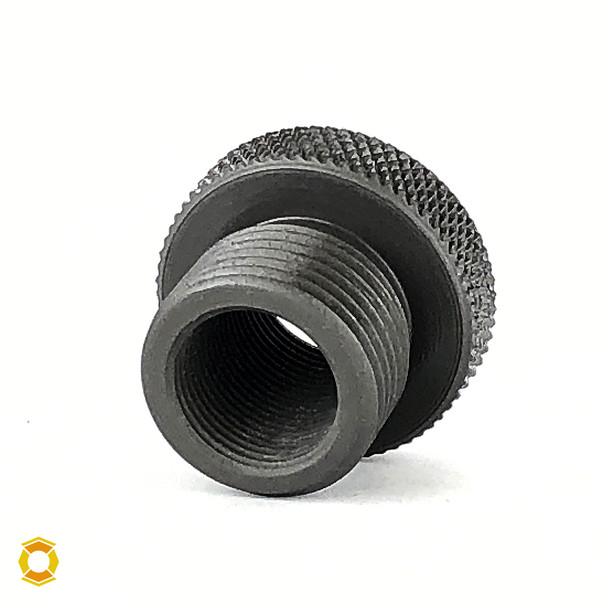 1/2-28 to 18mm x 1.5 Thread Adapter - Black Steel