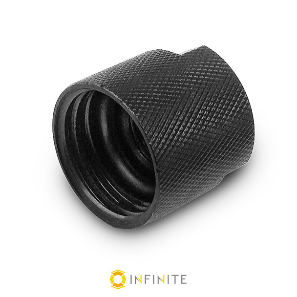 14mm x 1 LH to Bottle Thread Adapter with Grip (Knurled)
