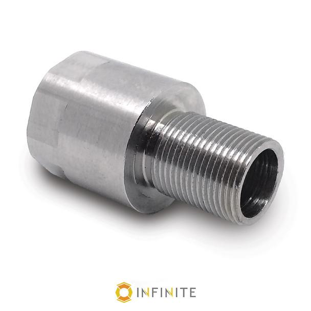 14mm x 1 RH to 1/2-28 RH Thread Adapter - Stainless Steel