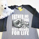 Father and Sons (2 Fist bumps) Best Friends for Life Adult Raglan 3/4 Sleeves