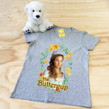 heather gray his buttercup ladies fitted v-neck shirt