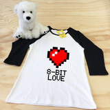 white and black 8 bit love ladies slim fitted raglan