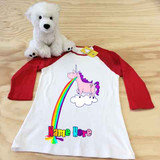 white and red barfing unicorn ladies slim fitted raglan