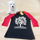 black and red family tree ladies fitted raglan