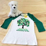 white and green family tree in color ladies slim fitted raglan