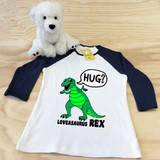 white and navy loveasaurus rex ladies slim fitted raglan