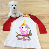 Banana Monkey Unicorn Ladies Slim Fitted Raglan 3/4 Sleeve