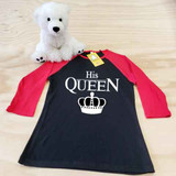 His Queen Ladies Slim Fitted Raglan 3/4 Sleeve