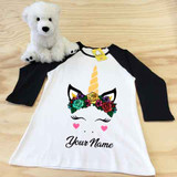 Flower Crown Unicorn Ladies Slim Fitted Raglan 3/4 Sleeve