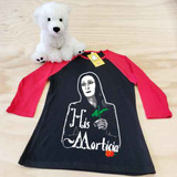 His Morticia Ladies Slim Fitted Raglan 3/4 Sleeve