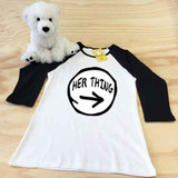 white and black her thing ladies fitted raglan