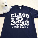 Navy class of with year and name adult shirt