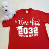 Red class of script grad cap diploma adult shirt