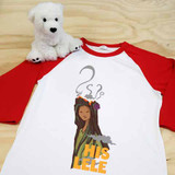 Red and White his Lele raglan 3/4 sleeve