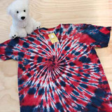 Red white and blue tie dye adult shirt