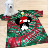 Red and green tie dyed minnie adult shirt