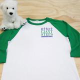 Giant Steps - Adult Raglan White and Green Baseball Style 3/4 Sleeve Tee Shirt