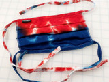 Red-White-Blue Tie Dye Face Mask with Ties -  on Non-Medical Grade 100% Ringspun Cotton 2-Ply