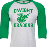Dwight Dragons - Raglan Baseball Style 3/4 Sleeve Tee Shirt
