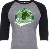 Dragons Head - Raglan Baseball Style 3/4 Sleeve Tee Shirt