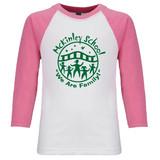 McKinley Classic School Logo Raglan Baseball Style 3/4 Sleeve Tee Shirt