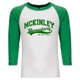 McKinley Elementary Swoosh - Raglan Baseball Style 3/4 Sleeve Tee Shirt
