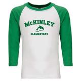McKinley Dolphin Elementary - Raglan Baseball Style 3/4 Sleeve Tee Shirt