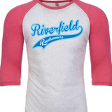 Riverfield Roadrunners Script Raglan Baseball Style 3/4 Sleeve Tee Shirt